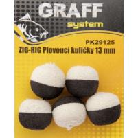 GRAFF - ZIG RIG, Plovoucí kuličky 13mm, černá-bílá, 5ks