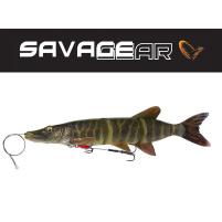 SAVAGE GEAR - Nástraha 4D Line thru pike s lankem a 2x trojháčkem 25cm / 105g - Stripped