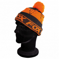 FOX - zimní Čepice Black Orange Loned Bobble