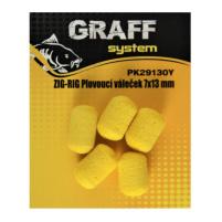 GRAFF - ZIG RIG, Plovoucí váleček 7x13mm žlutá - 5ks