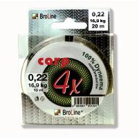 BROLINE - Splétaná šňůra Carp Dyneema hnědá - 0,075mm - 3,6,kg - 2x 10m