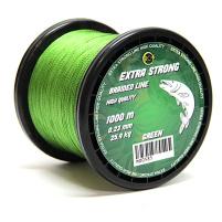 RCM - Spletaná šňůra Extra strong braided line 0,10mm 6,2kg 1000m, zelená