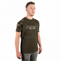 FOX - Tričko Raglan khaki/camo sleeves t shirt